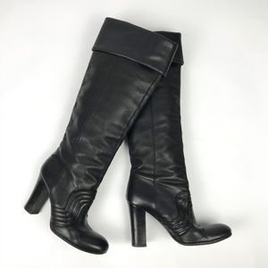Miss Sixty Black Leather Knee High Heeled Boots